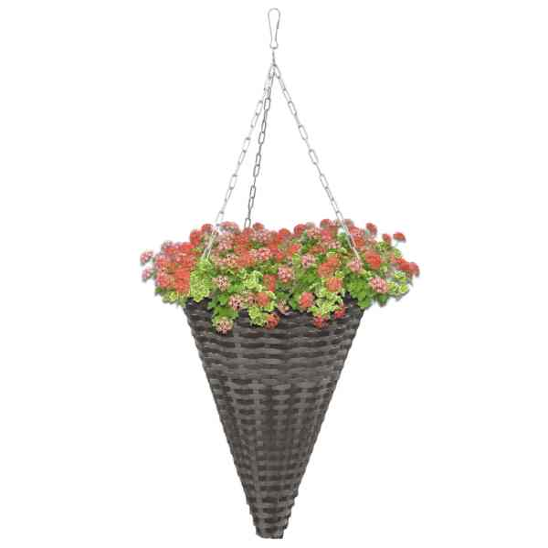 vidaXL Coșuri de flori suspendate, 2 buc., gri, poliratan