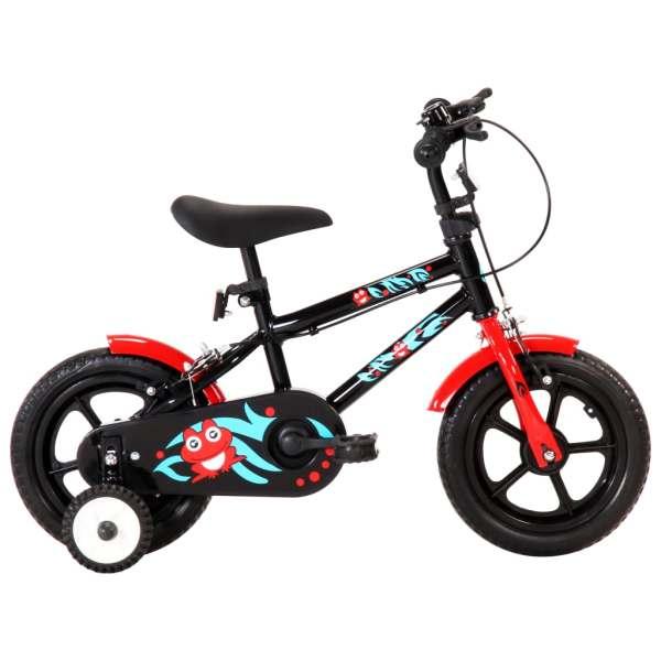 vidaXL Bicicletă pentru copii, negru și roșu, 12 inci