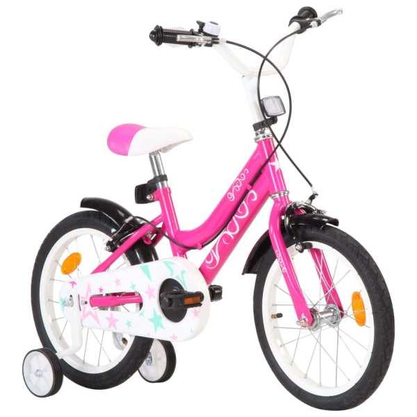 vidaXL Bicicletă pentru copii, negru și roz, 16 inci