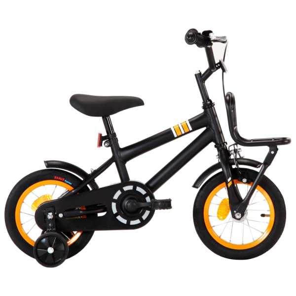 vidaXL Bicicletă copii cu suport frontal, negru și portocaliu, 12 inci