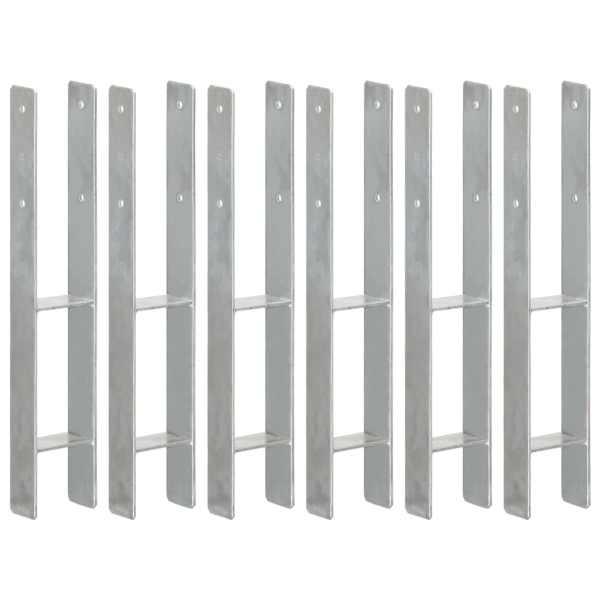 vidaXL Ancore de gard, 6 buc., argintiu, 9x6x60 cm, oțel galvanizat