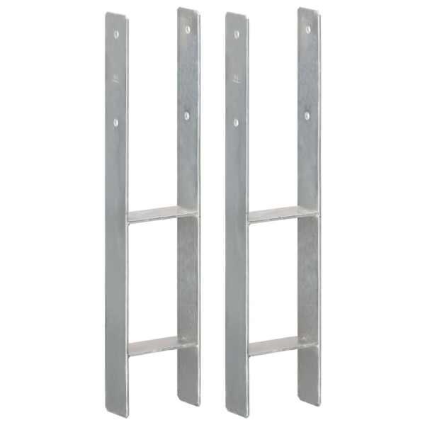 vidaXL Ancore de gard, 2 buc., argintiu, 12x6x60 cm, oțel galvanizat