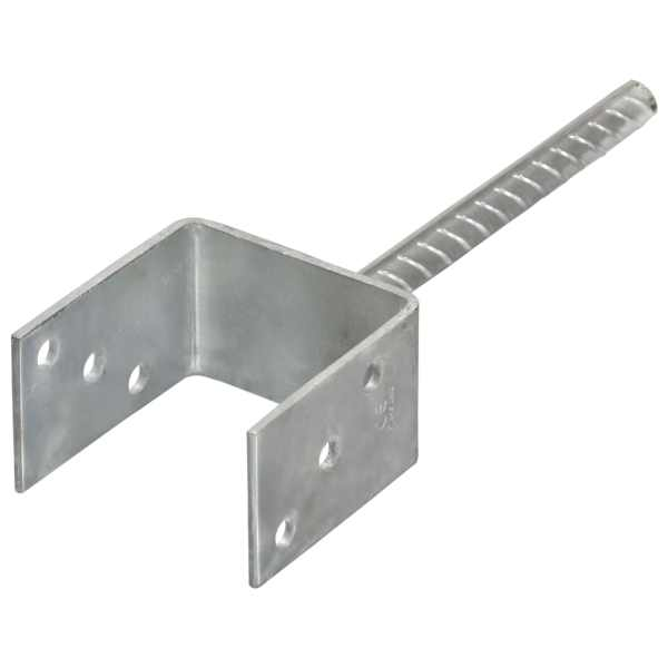 Ancore de gard, 2 buc., argintiu, 9x6x30 cm, oțel galvanizat