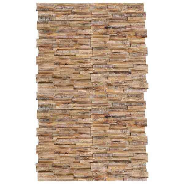 vidaXL Panouri placare pereți 3D, 20 buc., lemn de tec, 2 m²