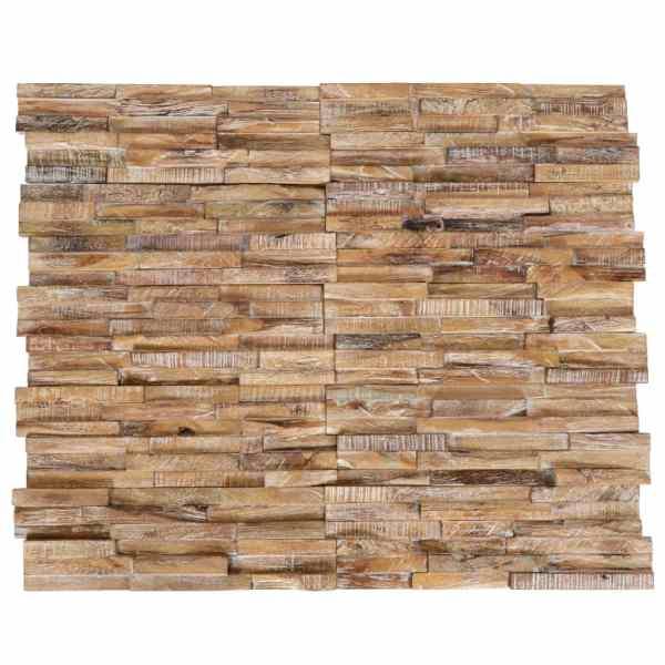 Panouri placare pereți 3D, 20 buc., lemn de tec, 2 m²