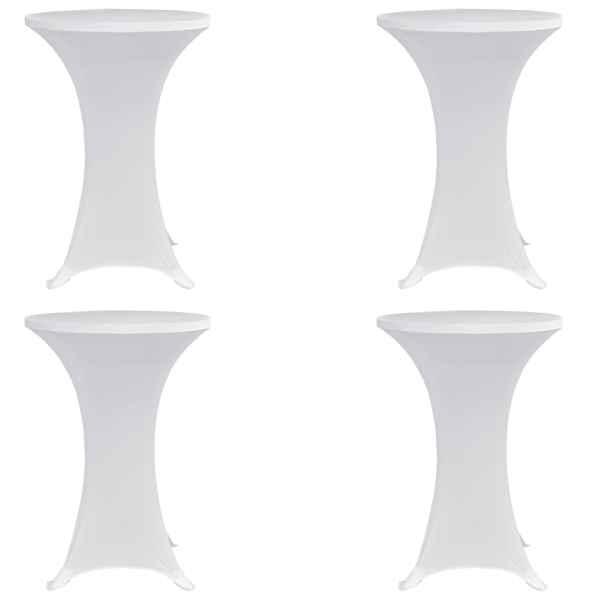 vidaXL Husă de masă cu picior Ø70 cm, 4 buc., alb, elastic