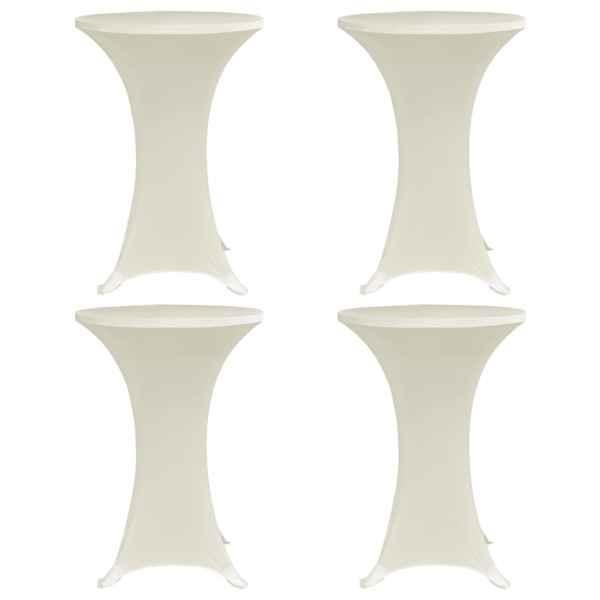 vidaXL Husă de masă cu picior, 4 buc., crem, Ø60 cm, elastic