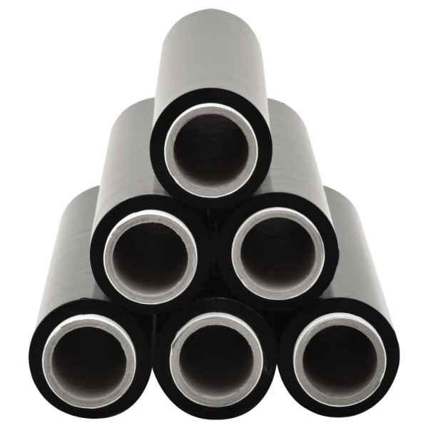 vidaXL Role de folie pentru paleți, 6 buc., negru, 23 µm, 624 m