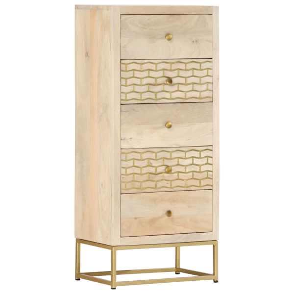 vidaXL Dulap cu sertare, auriu, 45 x 30 x 105 cm, lemn masiv de mango