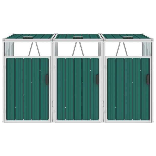 vidaXL Magazie pubele triplă, verde, 213 x 81 x 121 cm, oțel