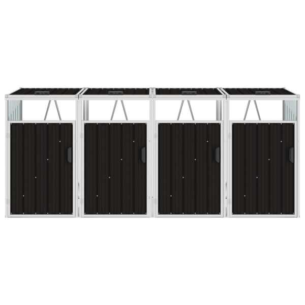 Magazie pubele cvadruplă, maro, 286 x 81 x 121 cm, oțel