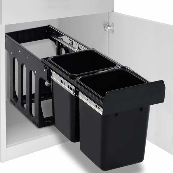 vidaXL Coș gunoi retractabil pentru dulap bucătărie, silențios, 20 L