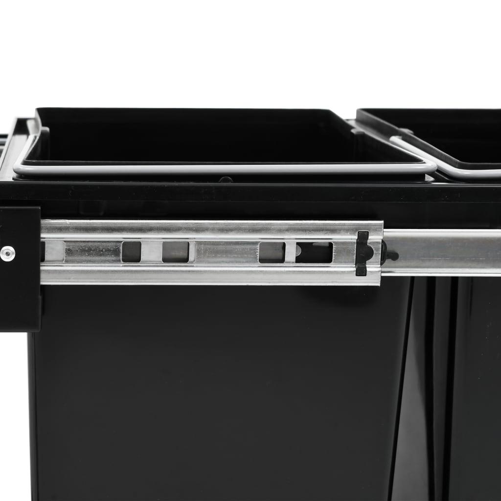 vidaXL Coș de gunoi retractabil dulap bucătărie închidere lentă 48 L