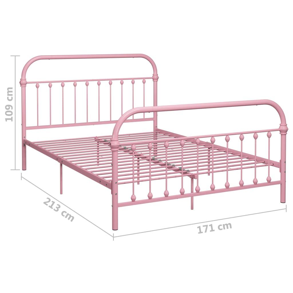 vidaXL Cadru de pat, roz, 160 x 200 cm, metal