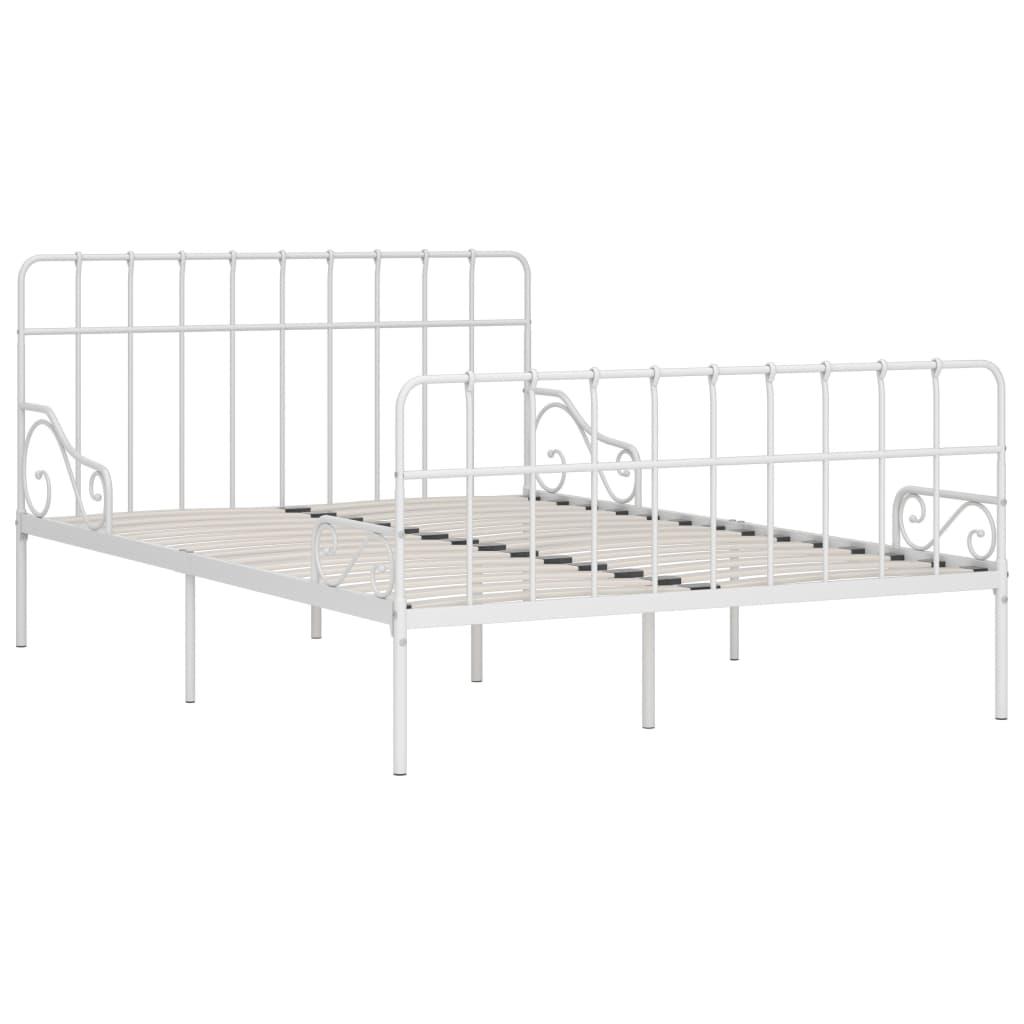 Cadru de pat cu bază din șipci, alb, 140 x 200 cm, metal