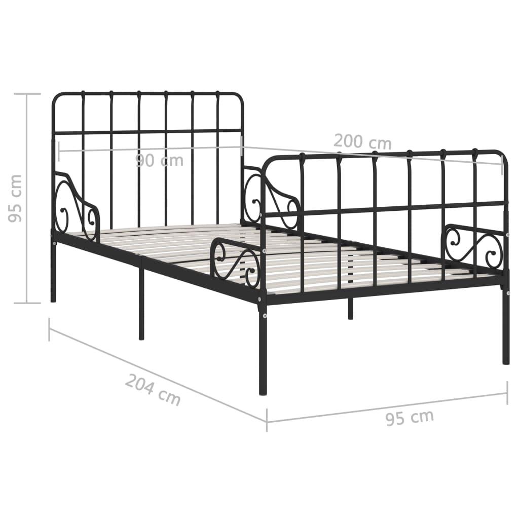 Cadru de pat cu bază din șipci, negru, 90 x 200 cm, metal