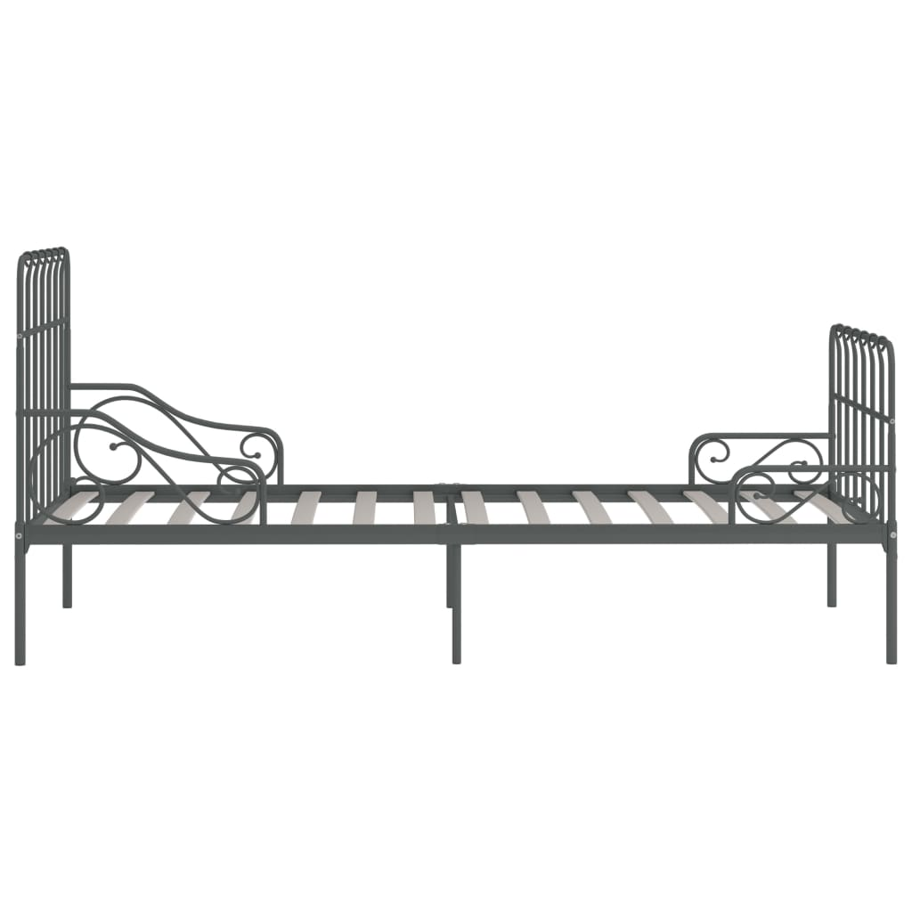 Cadru de pat cu bază din șipci, gri, 90 x 200 cm, metal