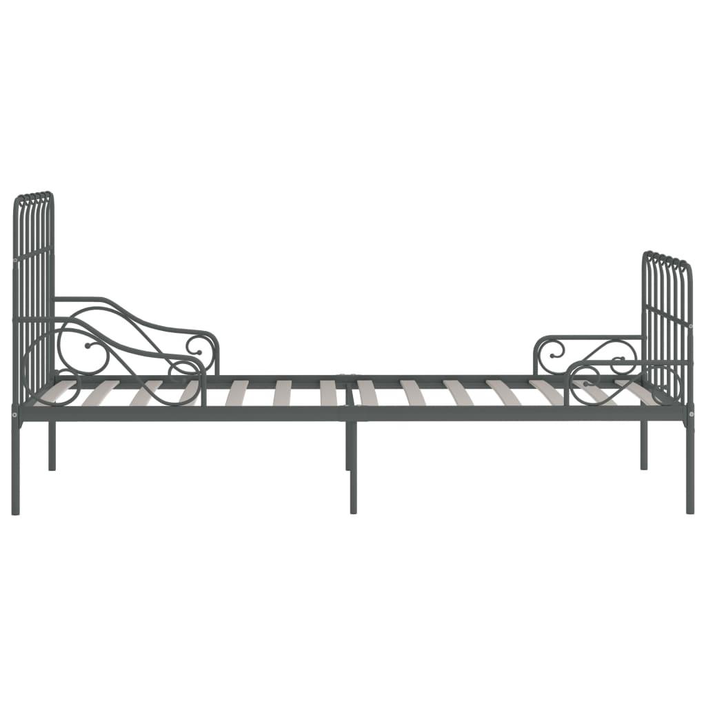 Cadru de pat cu bază din șipci, gri, 100 x 200 cm, metal