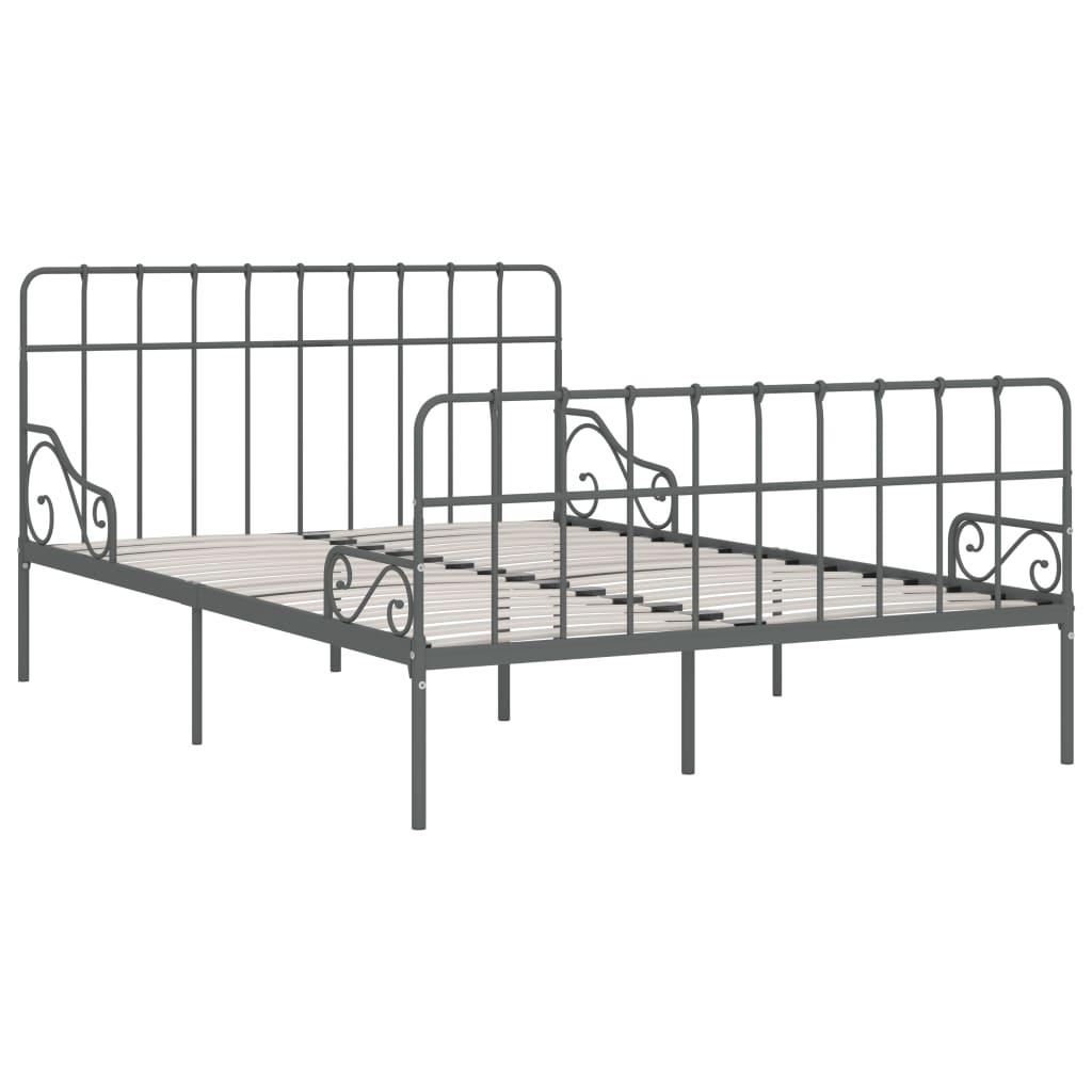 Cadru de pat cu bază din șipci, gri, 160 x 200 cm, metal