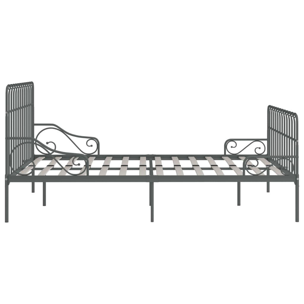 Cadru de pat cu bază din șipci, gri, 200 x 200 cm, metal