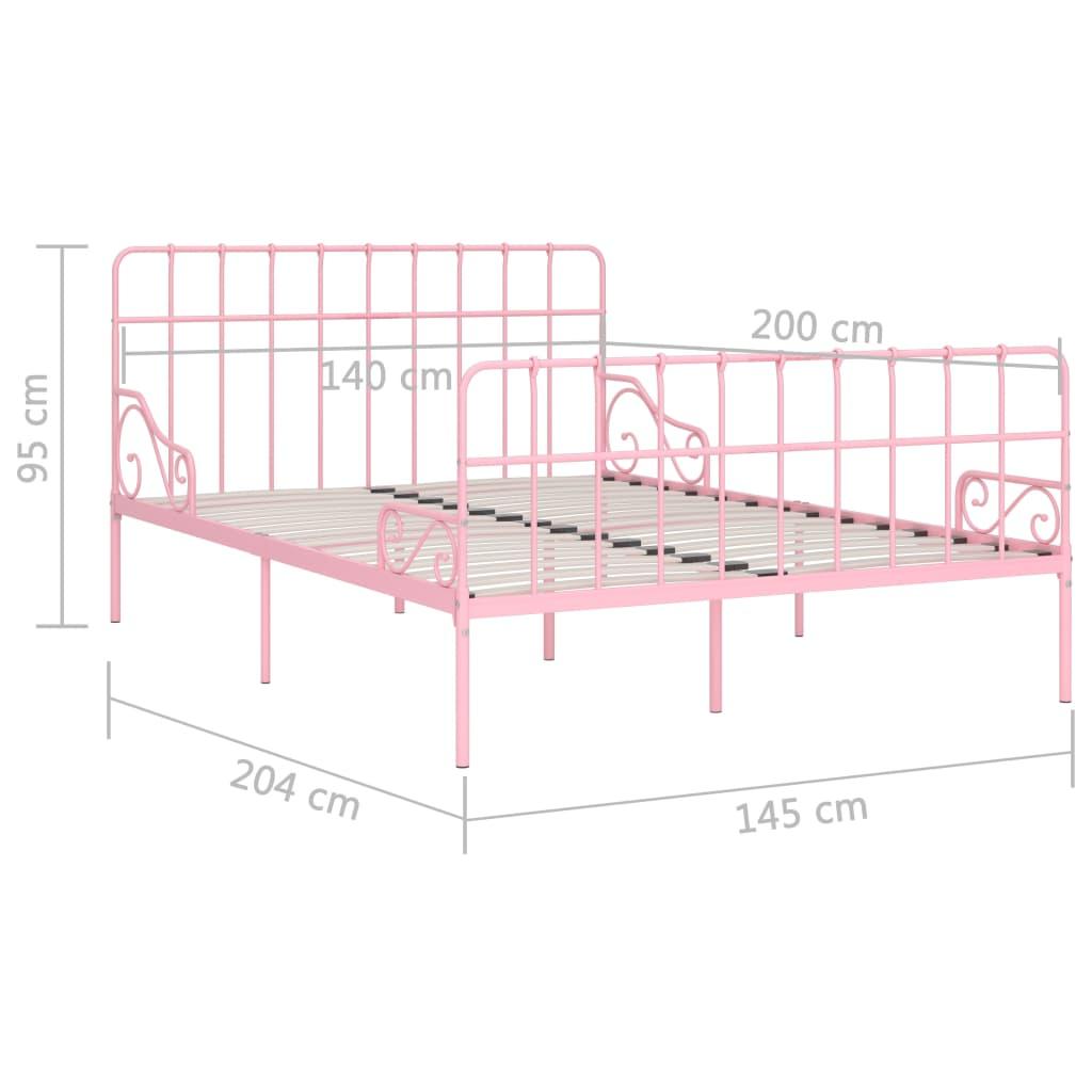 Cadru de pat cu bază din șipci, roz, 140 x 200 cm, metal