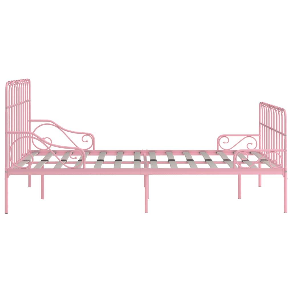 Cadru de pat cu bază din șipci, roz, 160 x 200 cm, metal