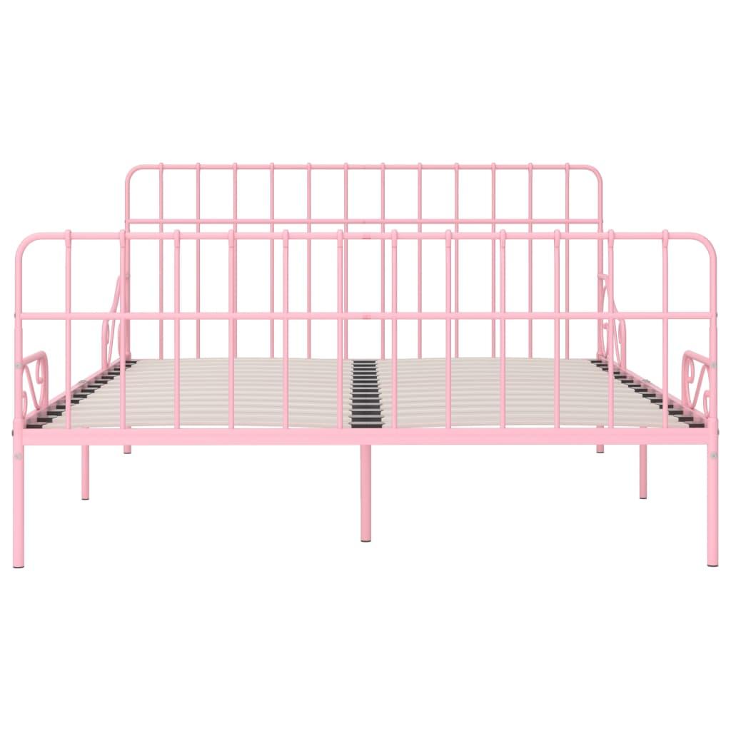 Cadru de pat cu bază din șipci, roz, 180 x 200 cm, metal