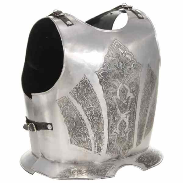 vidaXL Replică armură cavaler medieval jocuri de rol, argintiu, oțel