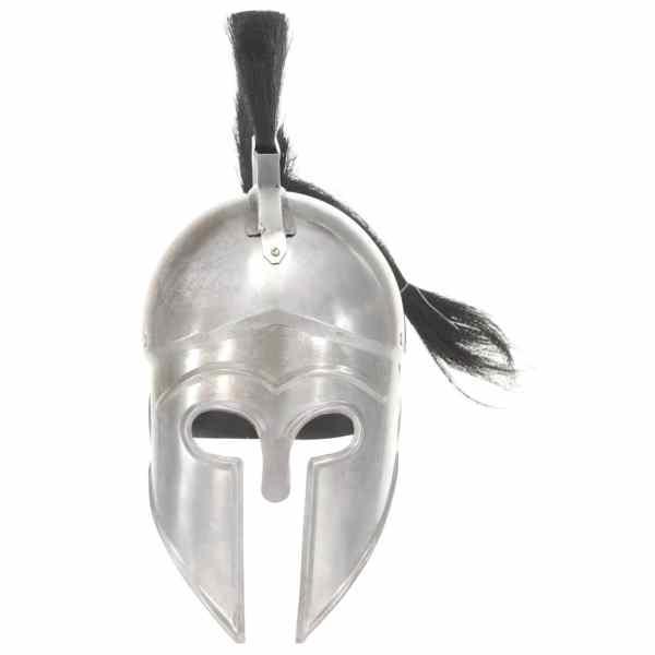 Coif războinic grec, aspect antic, joc de rol, argintiu, oțel