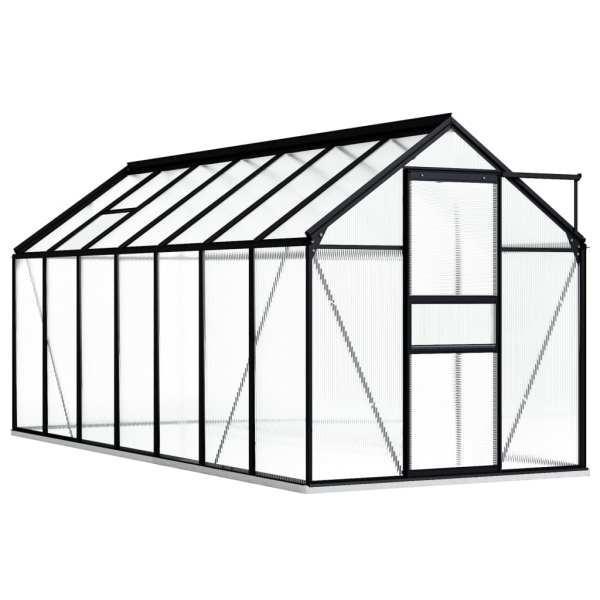 Seră cu cadru de bază, antracit, 8,17 m², aluminiu