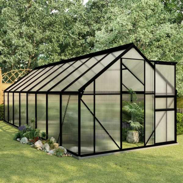 vidaXL Seră cu un cadru de bază, antracit, 9,31 m², aluminiu