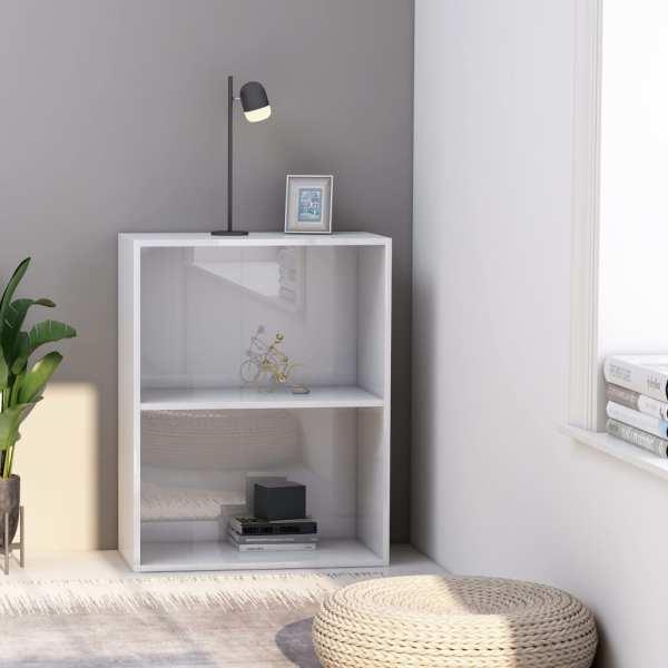 vidaXL Bibliotecă cu 2 rafturi, alb extralucios, 60x30x76,5 cm, PAL