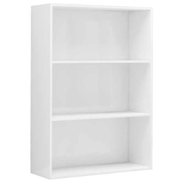 Bibliotecă cu 3 rafturi, alb extralucios, 80 x 30 x 114 cm, PAL