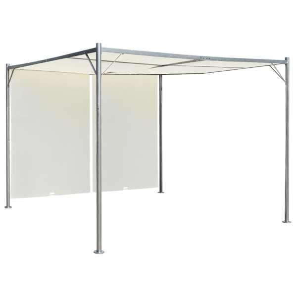 vidaXL Pergolă cu acoperiș rabatabil, alb crem, 3 x 3 m, oțel
