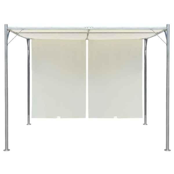 Pergolă cu acoperiș rabatabil, alb crem, 3 x 3 m, oțel