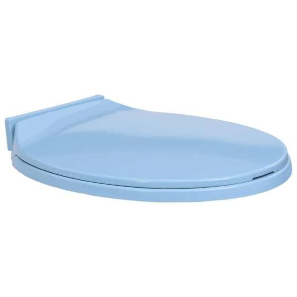 vidaXL Capac WC cu închidere silențioasă, albastru, oval