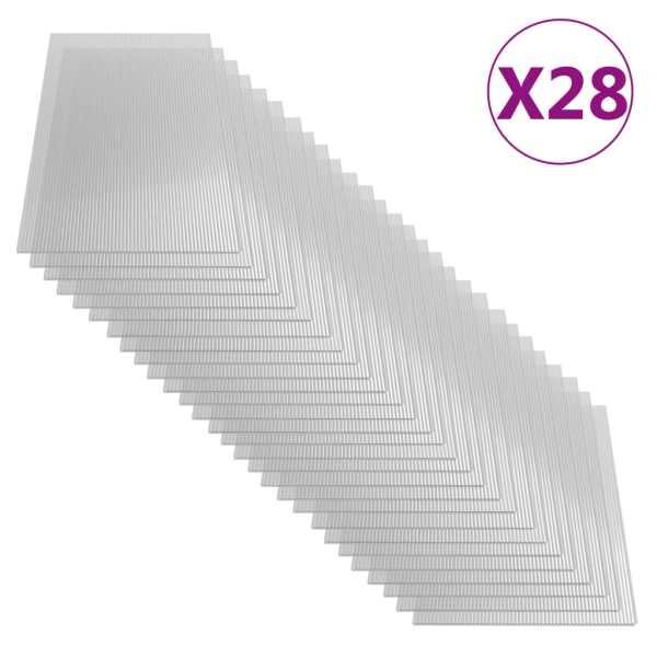 vidaXL Plăci din policarbonat, 28 buc., 121 x 60 cm, 4 mm