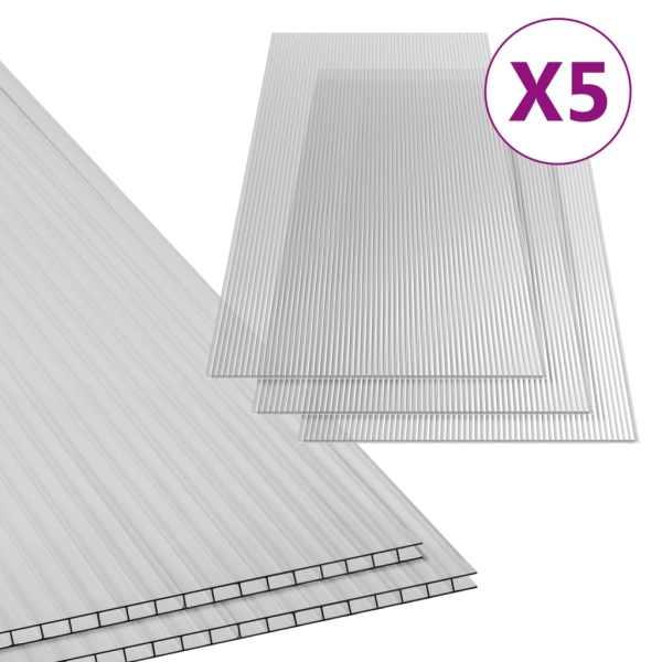 Plăci din policarbonat, 5 buc., 150 x 65 cm, 4,5 mm