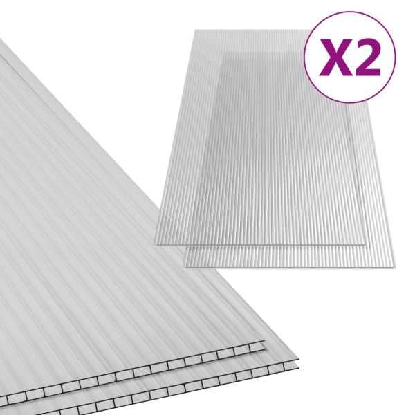 Plăci din policarbonat, 2 buc., 150 x 65 cm, 6 mm