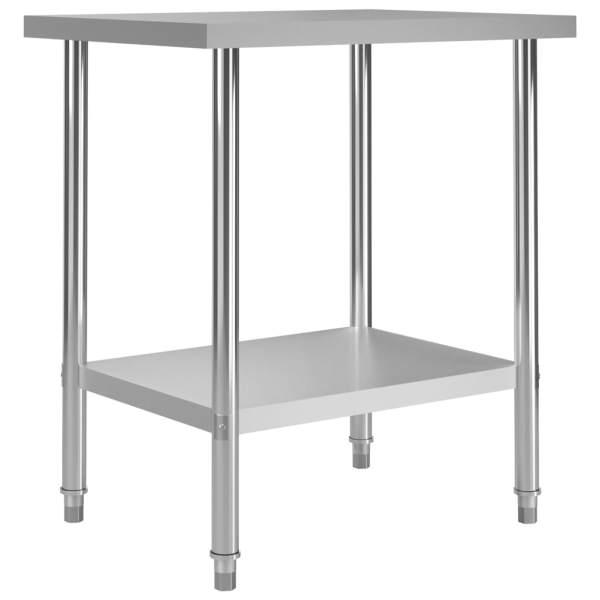 vidaXL Masă de lucru bucătărie, 80 x 60 x 85 cm, oțel inoxidabil