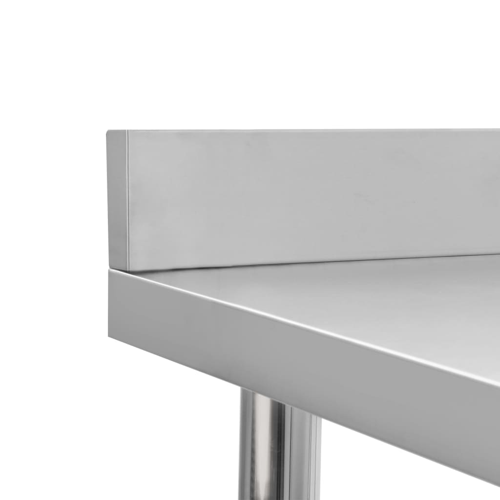 Masă de lucru bucătărie cu bordură 100x60x93 cm oțel inoxidabil