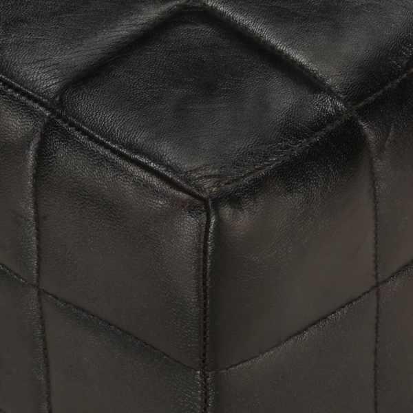 vidaXL Banchetă 2 locuri, negru, piele naturală de capră