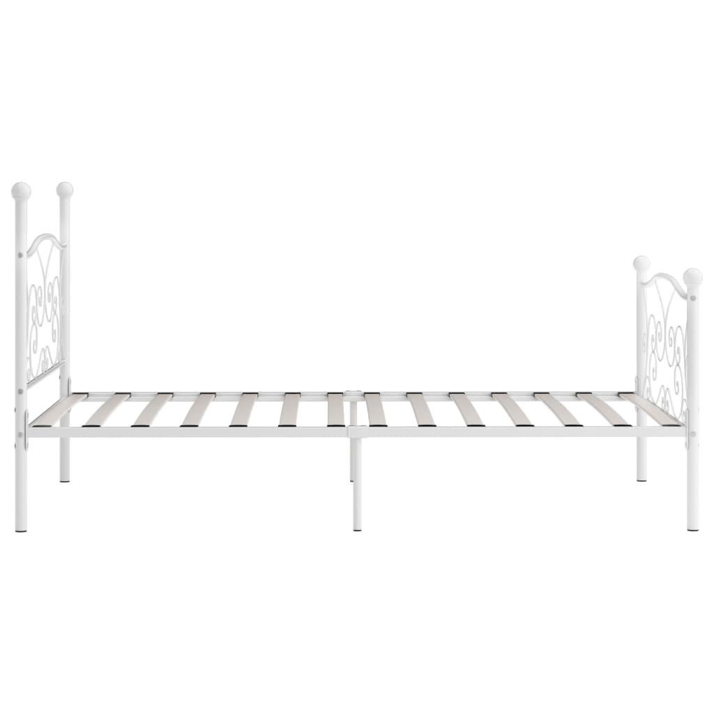 Cadru de pat cu bază din șipci, alb, 90 x 200 cm, metal