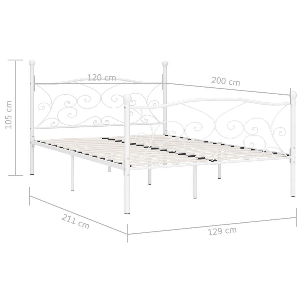 Cadru de pat cu bază din șipci, alb, 120 x 200 cm, metal