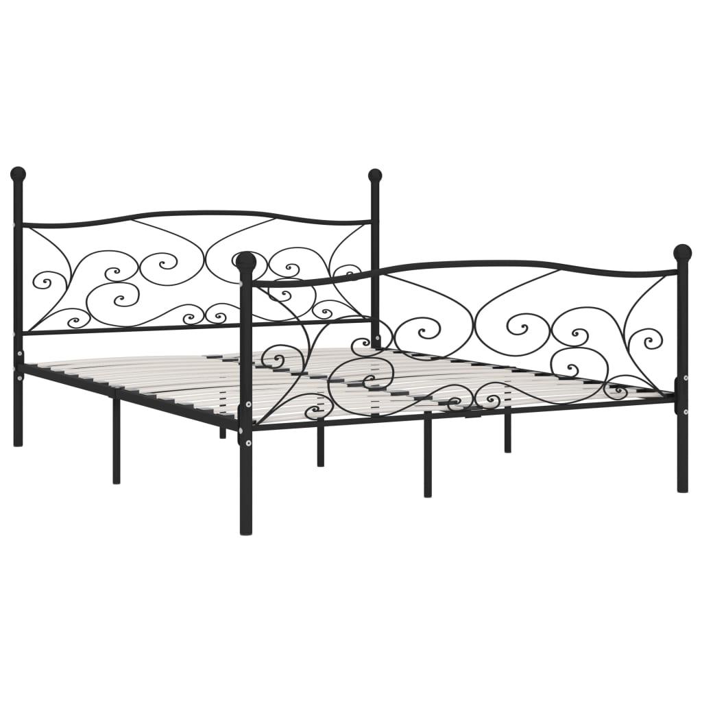 Cadru de pat cu bază din șipci, negru, 200 x 200 cm, metal