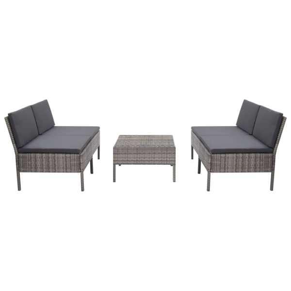 vidaXL Set canapele de grădină cu perne, 5 piese, gri, poliratan