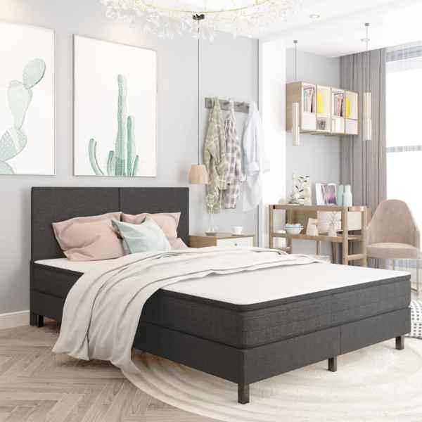 Tăblie de pat, gri închis, 140 x 200 cm, material textil