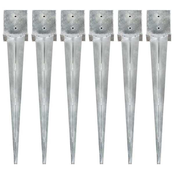 vidaXL Țăruși de sol, 6 buc., argintiu, 14x14x91 cm, oțel galvanizat