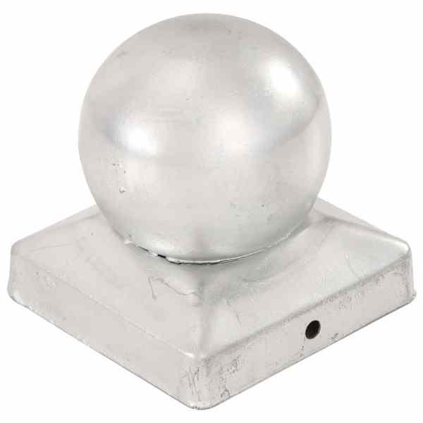 Capace stâlpi tip glob, 6 buc., 91 x 91 mm, metal galvanizat