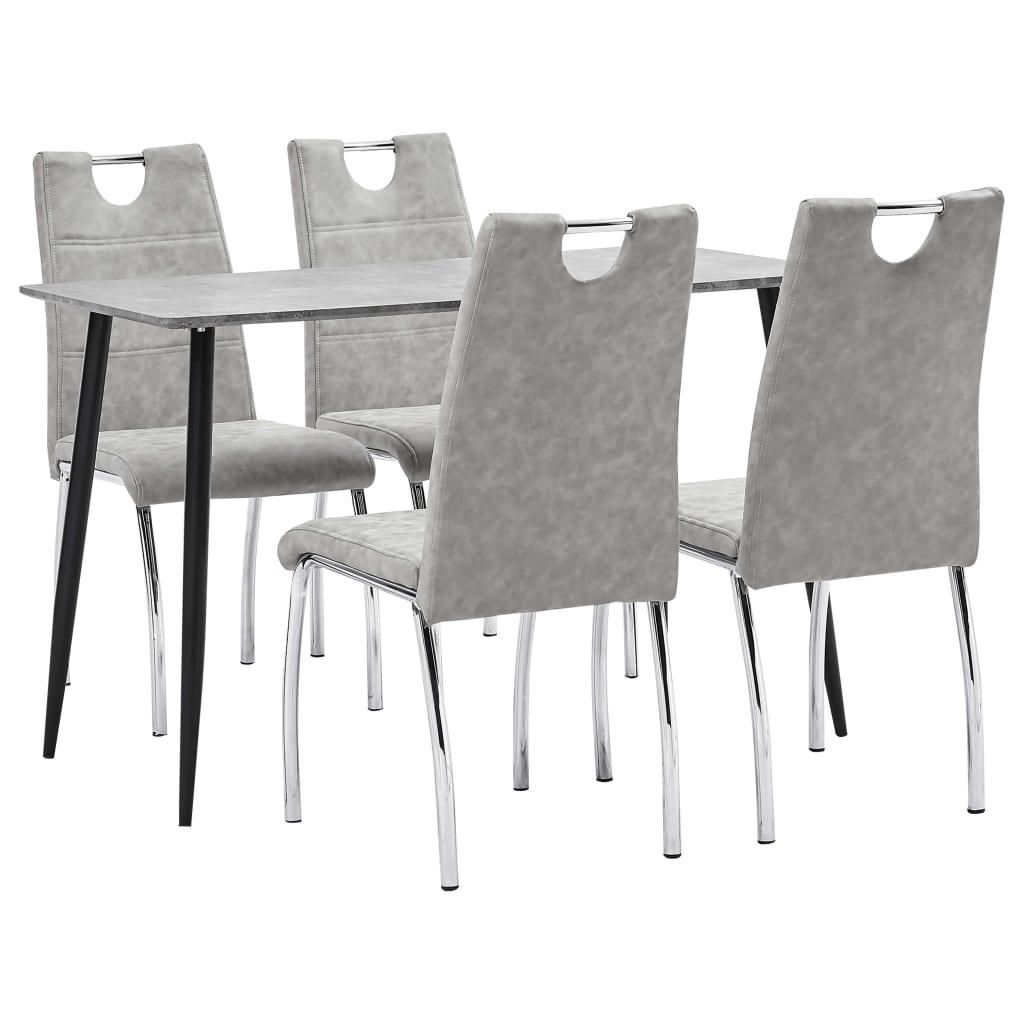 vidaXL Set mobilier bucătărie, 5 piese, gri deschis, piele ecologică
